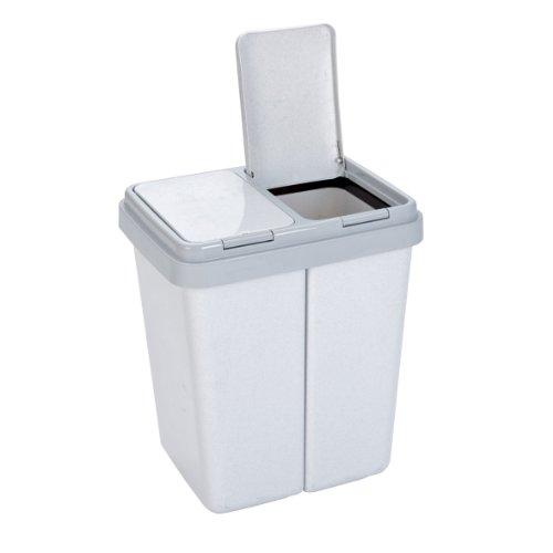 Axentia-Zweimer-Mllbehlter-mit-2-mal-30-Liter-Abfalleimer-grau-granit-Abfallsammler-fr-Kche-Bad-oder-Kinderzimmer-Abfalltrenner-mit-Tippdeckel-43-Breite-x-32-Tiefe-x-51-Hhe-cm-ideal-ft-Mlltrennung