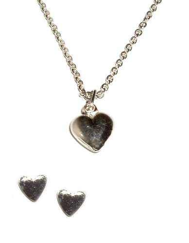 Sterling Silver Children's Puff Heart Charm Necklace and Earring Set for Girls in Gift Box, 14