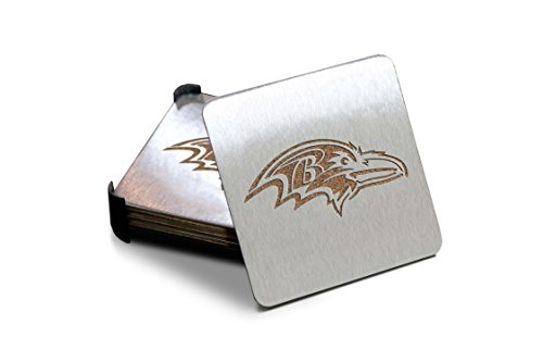 NFL Baltimore Ravens Boasters, Heavy Duty Stainless Steel Coasters, Set of 4