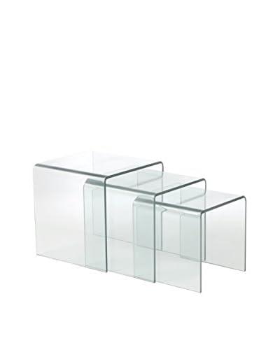 Eurostyle Gianna Glass Nesting Tables, Clear
