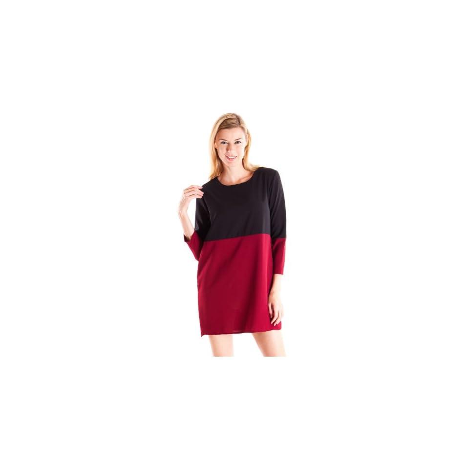 Clothes Effect Womens Slight Hi Low Hem Two Tone Shirt Dress