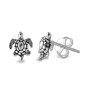 Sterling Silver Polished Sea Turtle Stud Earrings - 8mm