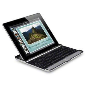 iPad 3 Bluetooth Wireless Keyboard Aluminium Stand, Case & Cover - Black / silver by KING OF FLASH (TM)