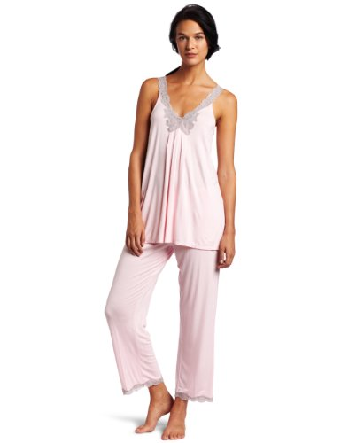 Midnight by Carole Hochman Women's Garden Of Love Pajama Set, Pink Orchid, Small