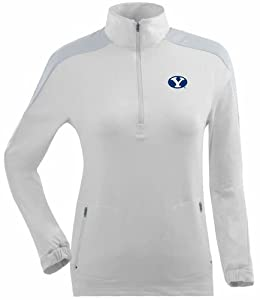 Brigham Young Ladies Succeed 1 4 Zip Performance Pullover (White) by Antigua