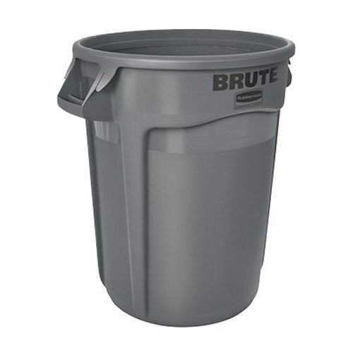 Rubbermaid Commercial Brute LLDPE Round Container without Lid, 32-Gallon, Gray (FG263200GRAY)
