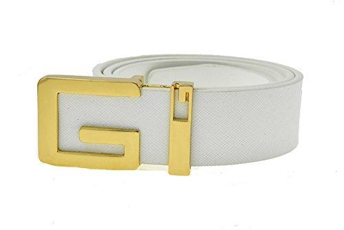 Classico liscio fibbia in metallo di alta qualità G Cinture per uomo White Gold 110 cm