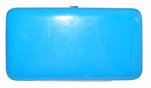 Topchoice Women'S Neon Electric Blue Patent Hinge Wallet