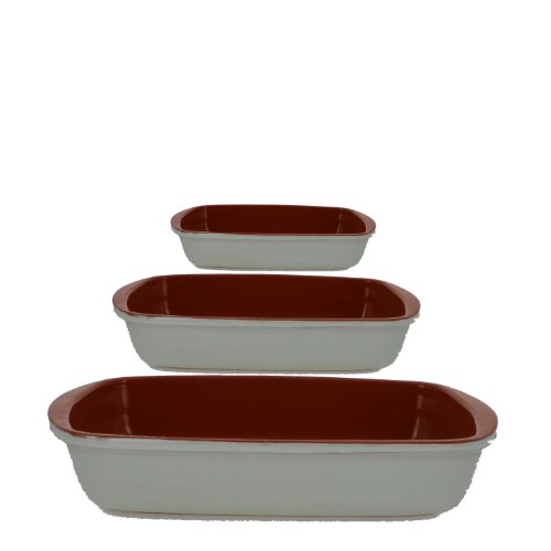 Coli Bakeware CL-REC-SET3-VN Italian Ceramic 3-Piece Rectangular Baker Set, Vanilla