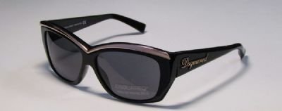 Dsquared2 Women'S Dq0017 Resin Sunglasses,Black Frame/Smoke Lens,One Size