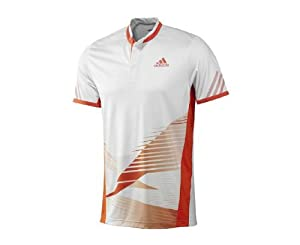 ADIDAS adizero Theme Polo pour Homme, Blanc/Orange, M