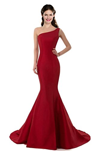 DESIGN Brief Elegant Burgundy Mermaid One-Shoulder Evening Dress Size 10