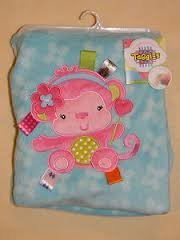 Taggies Pink Monkey Blanket 30In X 40In front-626100
