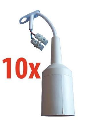 10 st ck relco renovierfassung baufassung mit kabel e27 wei db60. Black Bedroom Furniture Sets. Home Design Ideas