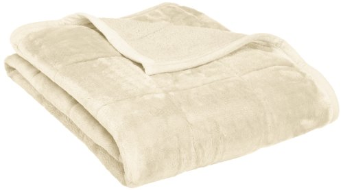 Northpoint Baroque Quilted Berber Reversible Throw Blanket, Ivory front-848766