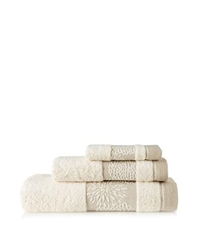 Belle Epoque 3 Piece Jacquard Daisy Towel Set, Natural Linen