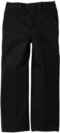 Dickies Little Boys' Flat Front Pant - School Uniform, Black, 6 Regular