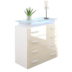 kommode sideboard pavos v2 in wei creme hochglanz k che haushalt. Black Bedroom Furniture Sets. Home Design Ideas