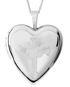 Sterling Silver HEART LOCKET ENGRAVED WITH CROSS AND DOVE with 18inch chain