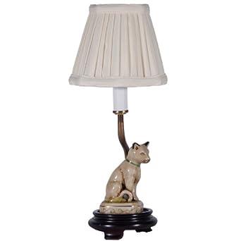 small porcelain cat accent table lamp ceramic cat lamp. Black Bedroom Furniture Sets. Home Design Ideas
