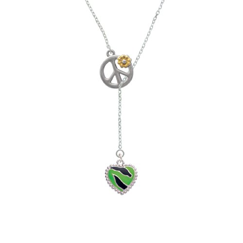 Lime Green Zebra Print Heart Peace Sign Lariat Necklace