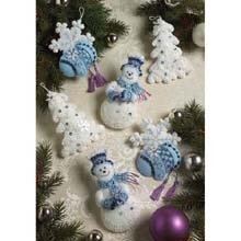 Bucilla 86094 Snowflake Snowman Felt Applique Ornament Kit, 5-Inch by 4-Inch, Set of 6