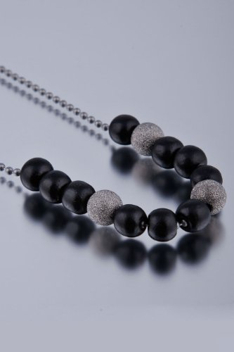 Dyoh Spiritual Jewelry Collection - 9mm Silver Stardust and Wood Bead Charm Necklace