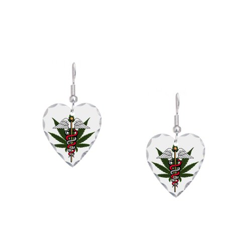 Earring Heart Charm Medical Marijuana Symbol