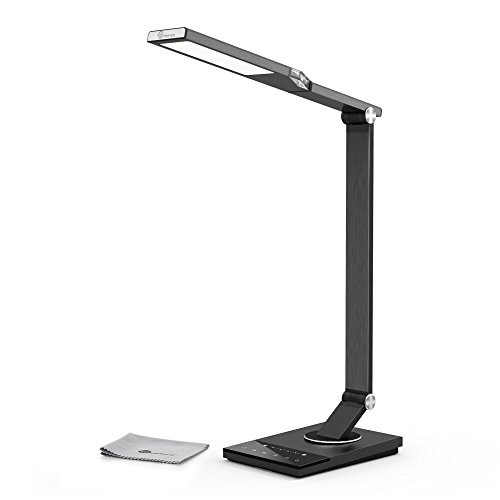 TaoTronics-Schreibtischlampe-LED-Tageslichtlampe-100-Metall-12W-Touch-Control-5-Farbetemperaturen-und-6-Helligkeiten-mit-USB-Anschluss-5V-2A-zum-Aufladen-von-Smartphones-und-Tablets-Eisen-Grau
