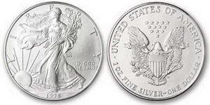 1996 Us 999 Silver Eagle Ounce Oz $1 Dollar Coin