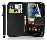 New Leather Wallet Flip Case Cover Pouch for Samsung Galaxy ACE 2 II GT-i8160 WITH FREE SCREEN GUARD + STYLUS PEN (Black)