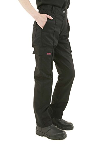 Ladies Cargo Combat Work Trousers Size 8 to 22 By SITE KING (12 / Short Leg, Black)
