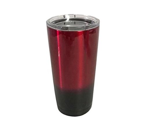 YETI Coolers 20 oz (20oz) Powder Coated Rambler Tumbler Cup with Extra Spill Proof Lid - Keeps your 20oz drink cold or hot for hours (Red Black Ombre)