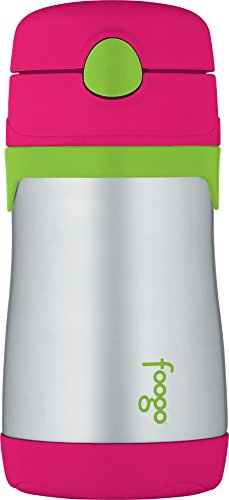 THERMOS FOOGO Vacuum Insulated Stainless Steel 10-Ounce Straw Bottle, Watermelon/Green (Big Beverage Straws compare prices)