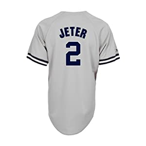 MLB Mens New York Yankees Derek Jeter Road Gray Short Sleeve 6 Button Synthetic... by Majestic