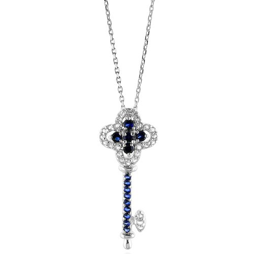 White and Blue Sapphire Key Pendant Necklace w/18