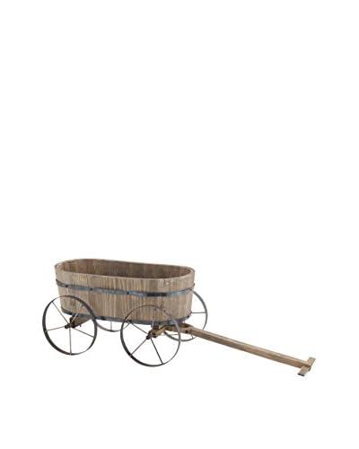 Wood Metal Wagon Planter, Multi