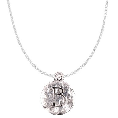 "Chelsea Hill ""Beta"" Sorority Symbol Or Monogram Initial ""B"" Necklace, Hammered Pewter & Silver-Tone"