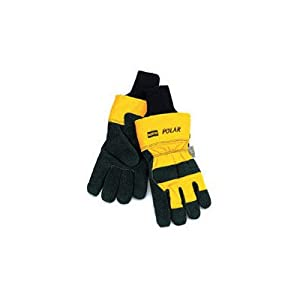 And Yellow Polar® Cowhide Thinsulate® Lined Cold Weather Gloves With Wing Thumb, Safety Cuffs And Knit Wrists