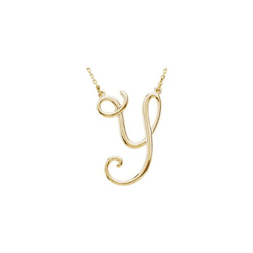 14K Yellow Gold Y Script Initial 16 Necklace