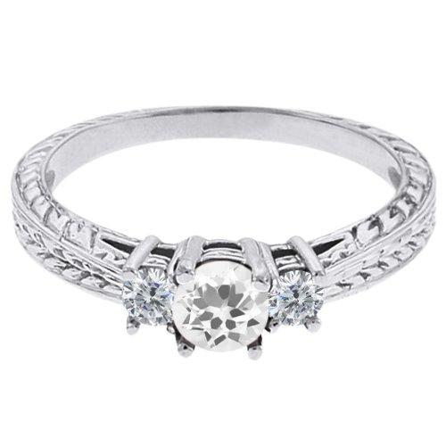 0.57 Ct Round White Topaz G/H Diamond 18K White Gold 3-Stone Ring