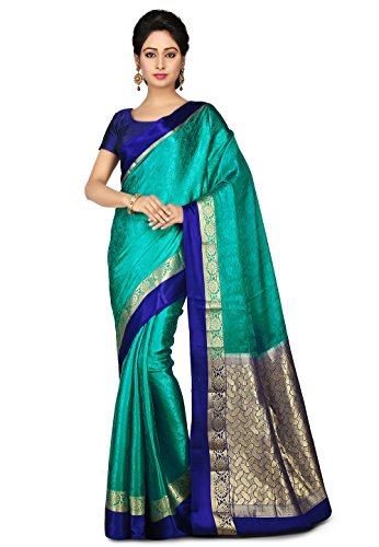 dfac664096 Utsav Fashion Women's Pure Mysore Silk Saree in Teal Green and Royal Blue