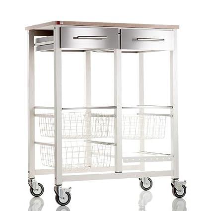 Don Hierro Onda Vegetable Rack Double XL Beech Kitchen Trolley