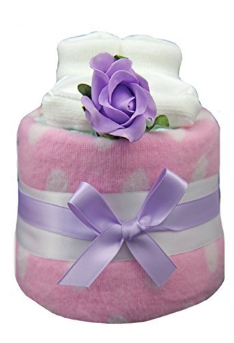 New 1 Tier Pink And Lilac Spotty Nappy Cake For Baby Girl - Shower, Maternity Gift