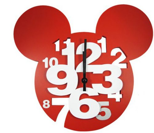 W&Hstore Colorful Design Mickey Mouse Super Big Digit 3D Wall Clock Home Decor Decoration (RED)