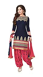 FASHION GALLERIA Women's Printed Unstitched Regular Wear Salwar Suit Dress Material (FG_530_Blue)