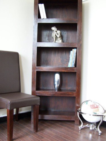 Homescapes - Dakota - Tall Bookcase 76 x 30 x 204 cm -Dark - 100% Solid Mango Hard Wood - ( No Veneer ) Hand Crafted Furniture
