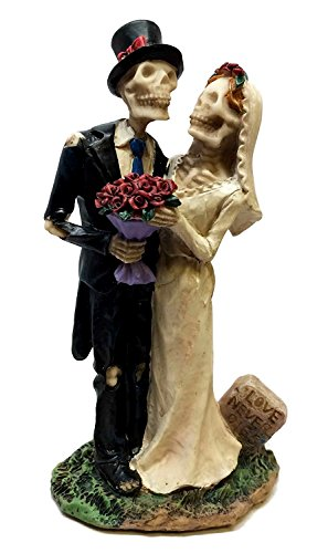 LOVE NEVER DIES BRIDE AND GROOM WEDDING DAY STATUE COUPLE ETERNAL SKELETONS