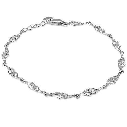 14ct White Gold Infinity Twist Segment Bracelet (6.5