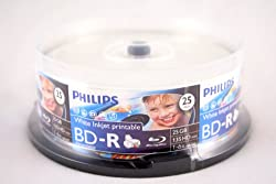 Philips BD-R 6X 25GB White Inkjet Printable 25PK in Spindle